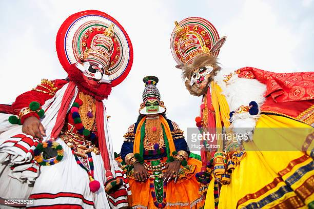 portrait of three kathakali dancers, kerala, southern india - hugh sitton india stock pictures, royalty-free photos & images