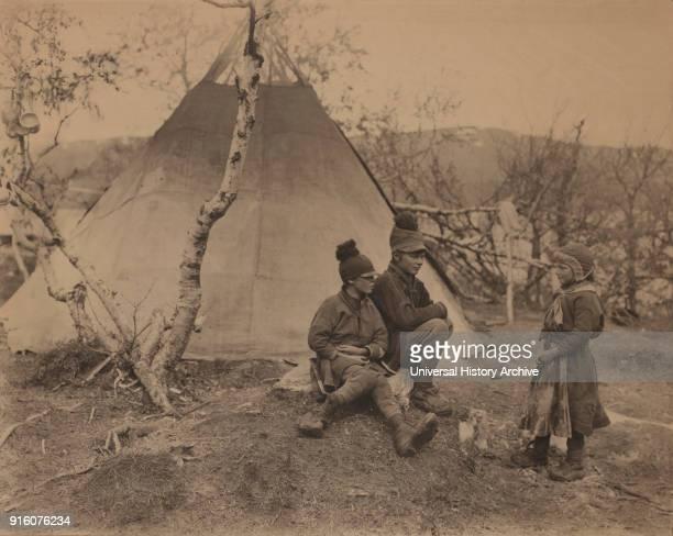 Portrait of Three Lapp Children near Tent Palnoviken Sweden 1910