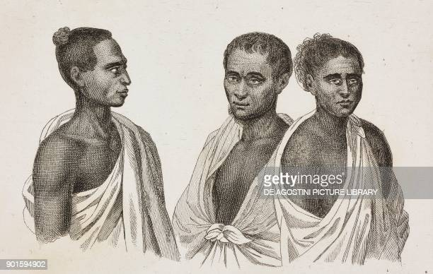 Portrait of three natives Hawaii Islands engraving by Danvin and Mariage from Oceanie ou Cinquieme partie du Monde Revue Geographique et...