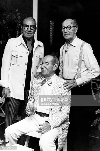 Portrait of three of the actor and comedian Marx Brothers Los Angeles California 1976 Pictured are from left Zeppo Gummo and Groucho born Julius Marx