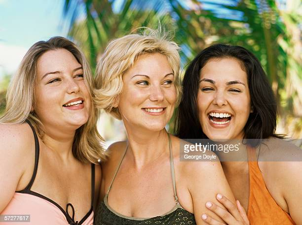 portrait of three overweight women smiling - short hair for fat women stock pictures, royalty-free photos & images