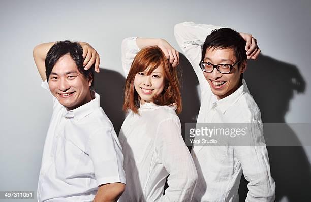 portrait of three people - ラインアップ ストックフォトと画像