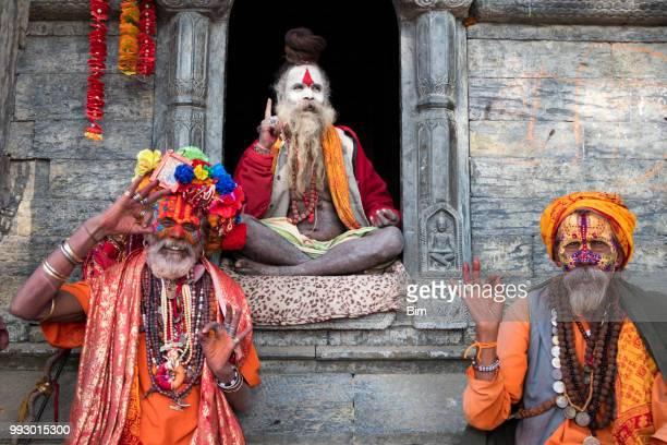 portrait of three sadhu, holy men, kathmandu, nepal - pashupatinath stock pictures, royalty-free photos & images