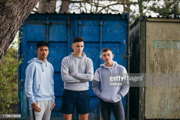 portrait of three teenage friends - one teenage boy only stock pictures, royalty-free photos & images