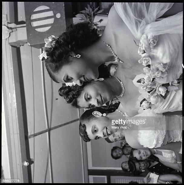 Portrait of Three Woman in Prom Gowns St Lucia