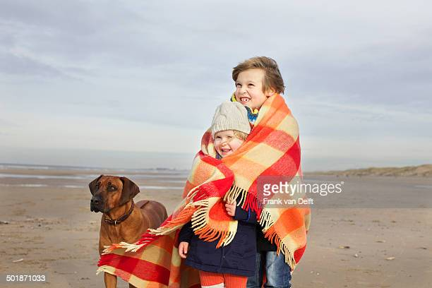 Portrait of three year old girl and brother wrapped in blanket on beach, Bloemendaal aan Zee, Netherlands