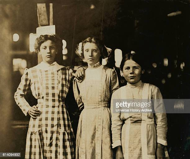 Portrait of Three Young Girls Working at Cannery Seaford Delaware USA circa 1910