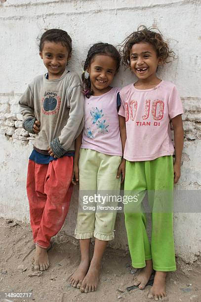 Portrait of three young local girls.