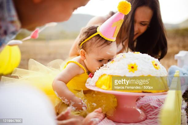portrait of toddler girl with her parents on her first birthday party withcake - 1歳以上2歳未満 ストックフォトと画像