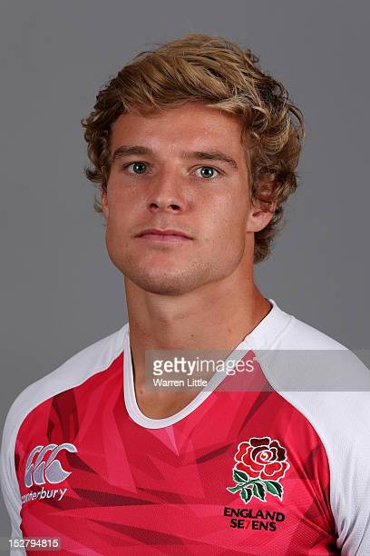 A portrait of Tom Mitchell of the England Sevens rugby team at The Lensbury Club on September 26 2012 in Teddington England