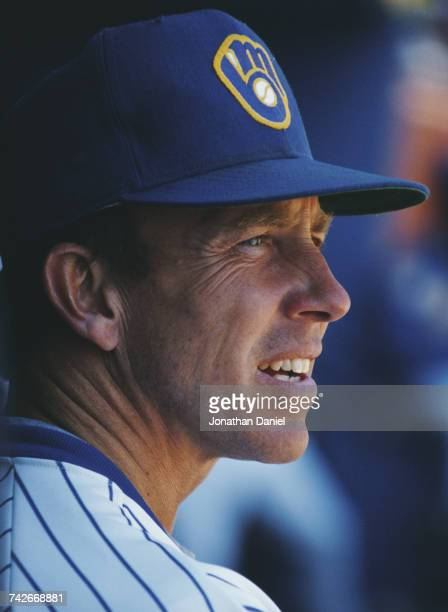 Portrait of Tom Trebelhorn manager for the Milwaukee Brewers during the Major League Baseball American League East game against the Texas Rangers on...