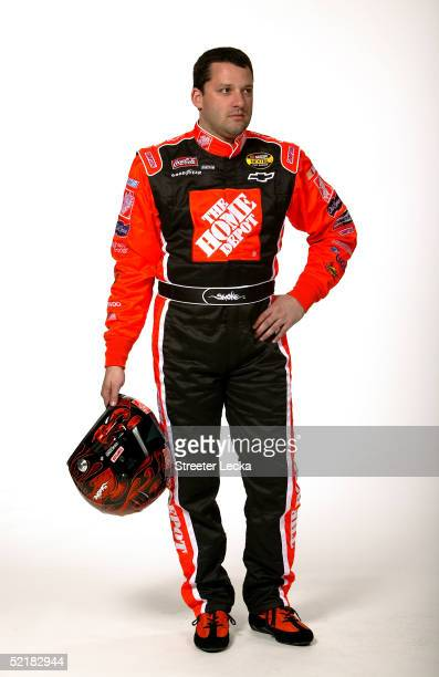 Portrait of Tony Stewart driver of the Joe Gibbs Racing Home Depot Chevrolet during Media Day at the NASCAR Nextel Cup Daytona 500 on February 10...