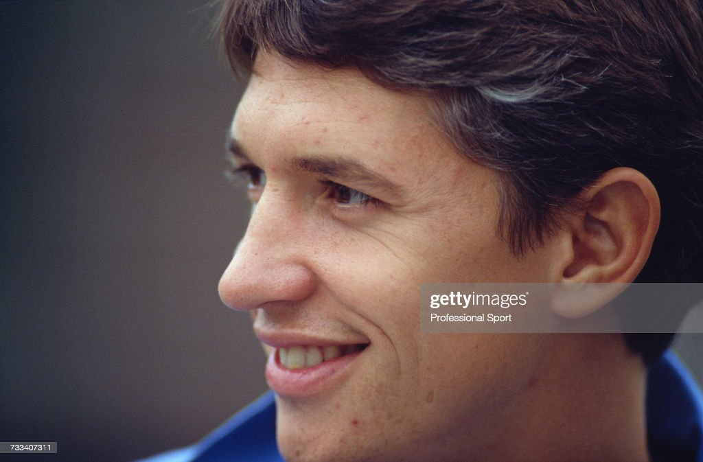 Portrait of Tottenham Hotspur and England striker Gary Lineker pictured during the 1991-92 season.