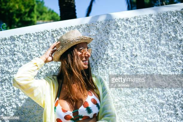 Portrait of tourist woman