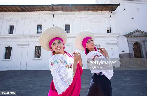 portrait of traditional ecuadorian dancers, quito. ecuador - hugh sitton stockfoto's en -beelden