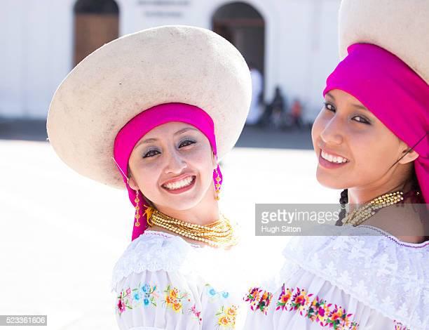 Portrait of traditional Ecuadorian dancers, Quito. Ecuador