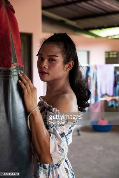 Portrait of transgender boxer Nong Rose at the Ban Charoensuk Gym where she trains in Cholburi province Nong Rose whose real name is Somros...