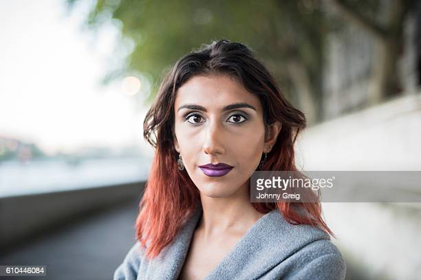 Portrait of transgender female looking towards camera