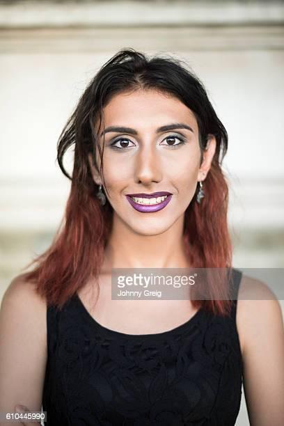 portrait of transgender female smiling toward camera - black transgender stock pictures, royalty-free photos & images