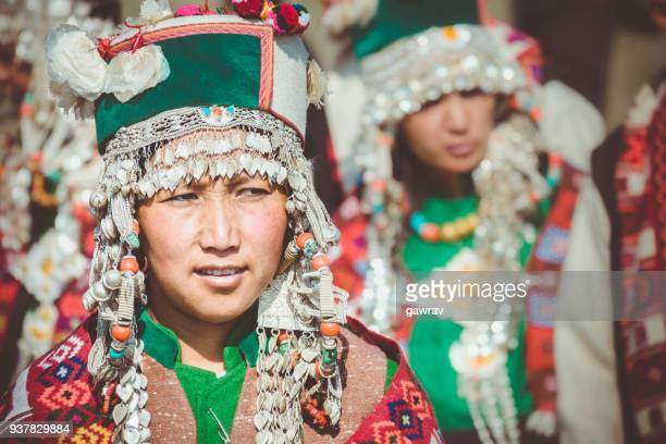 Portrait of tribal young woman of Kinnaur, Himachal Pradesh.