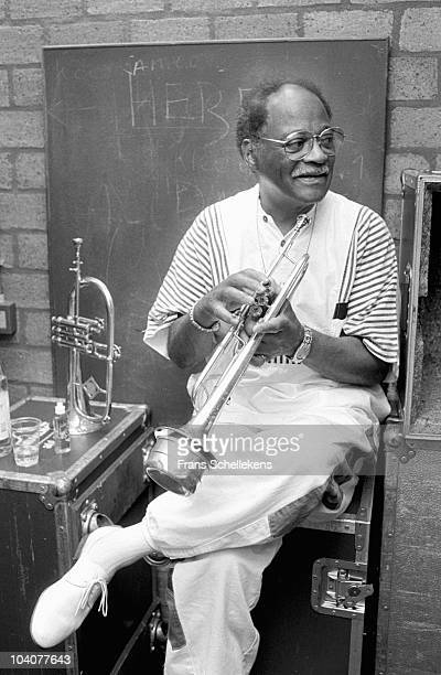 Portrait of trumpet player Clark Terry backstage at Meervaart Jazz Festival on August 1 1989 in Amsterdam, Netherlands.