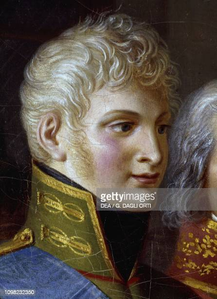 Portrait of Tsar Alexander I of Russia detail after Napoleon receiving the queen of Prussia in Tilsit on 6 July 1807 by Jean Charles Tardieu oil on...
