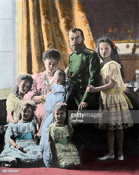 A portrait of Tsar Nicholas II Alexandra and their five children czarevitch Alexis grand duchesses Anastasia Marie Tatiana and Olga circa 1915