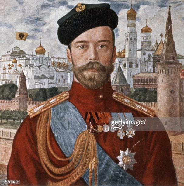 Portrait of tsar nicholas ll of russia by b m koustodiev from the early 1900s