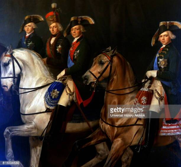 Portrait of Tsar Paul I of Russia with Grand Duke Alexander Pavlovich Konstantin Pavlovich and Palatine Stephen of Hungary By Egor Botman 1840 Oil on...