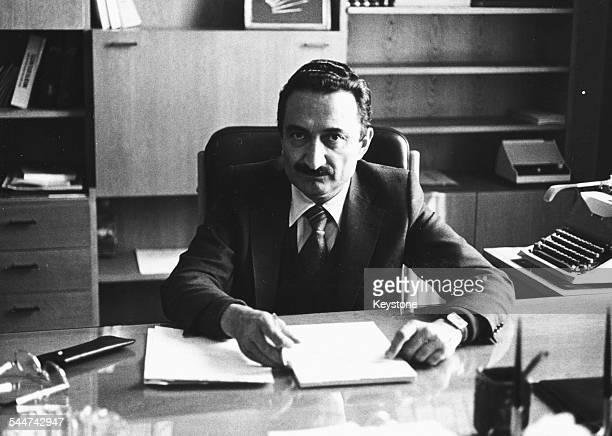 Portrait of Turkish politician Bulent Ecevit Leader of the Republican People's Party at his desk June 1980
