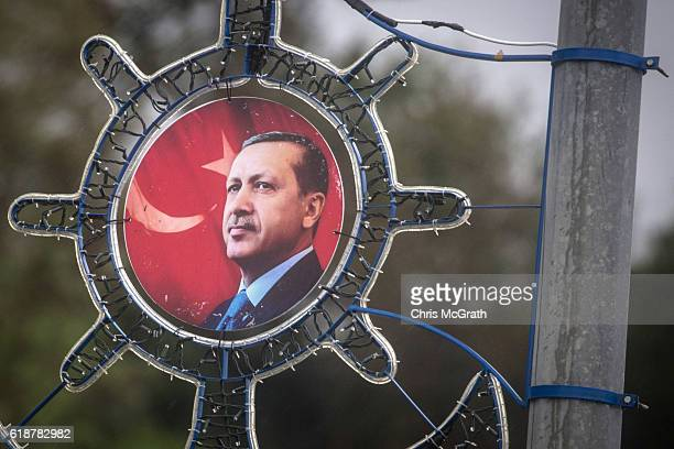 A portrait of Turkish president Recep Tayyip Erdogan is seen fixed to a street lamp along a freeway on October 25 2016 in Rize Turkey Although born...