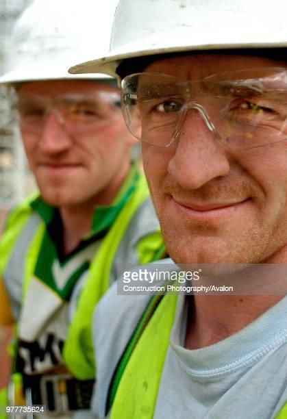 Portrait of twin construction workers London UK