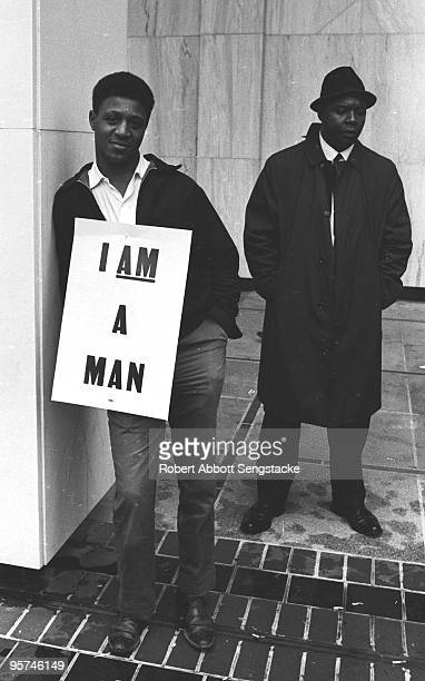 Portrait of two African American participants of the march in Memphis TN April 1968 One of the men wears a sign that reads 'I Am A Man' The march was...