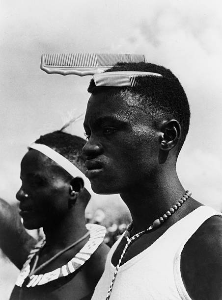 Portrait Of Two African Young Men, New Hairdressing Fashion In Africa On 1952