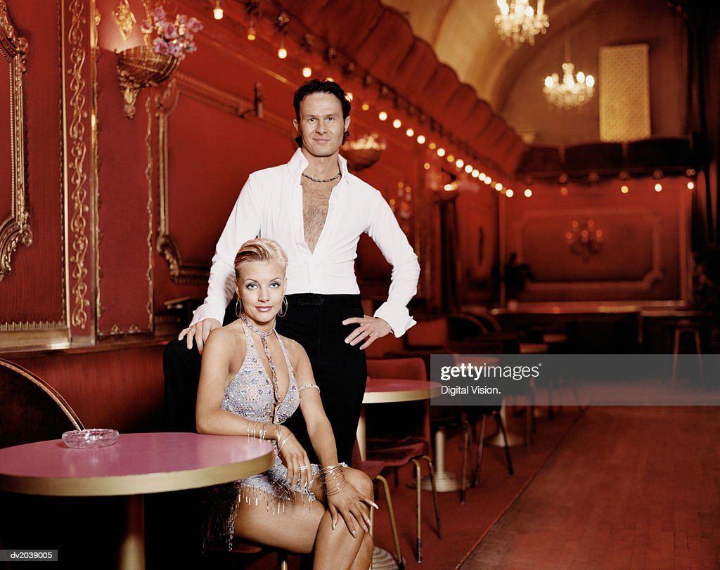 Portrait of Two Ballroom Dancers in a Nightclub : Stock Photo