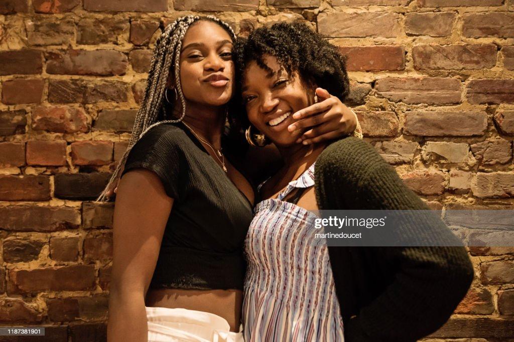 Portrait of two beautiful African-American women : Stock Photo