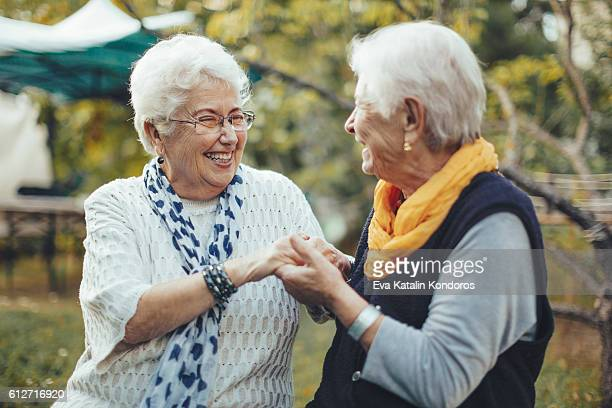 Portrait of two beautiful senior women