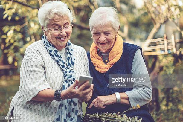 Portrait of two beautiful senior women