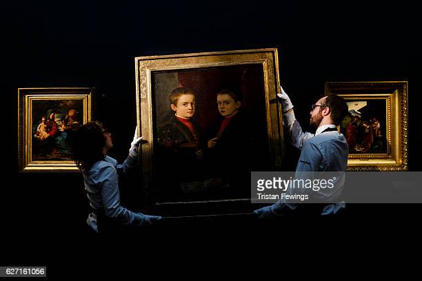 'Portrait of Two Boys' by Titian and studio one of the first few double portraits in Renaissance painting circa 1540 featured in an exhibition of...