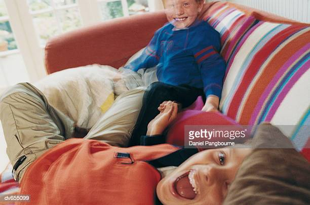 Portrait of Two Boys Laughing