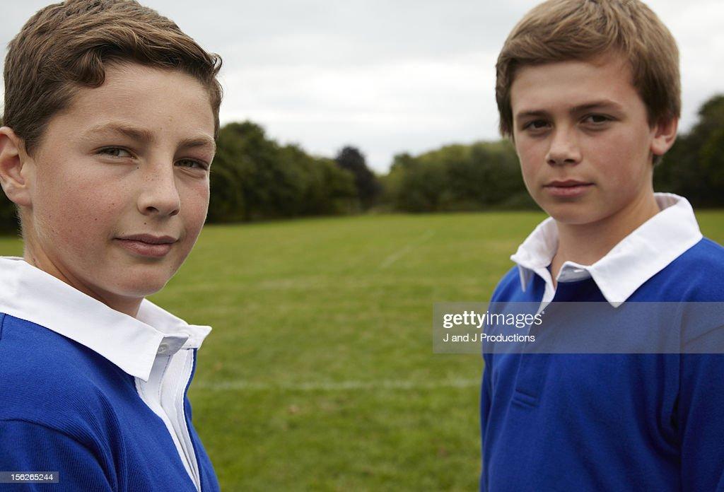 Portrait of two boys : Foto de stock
