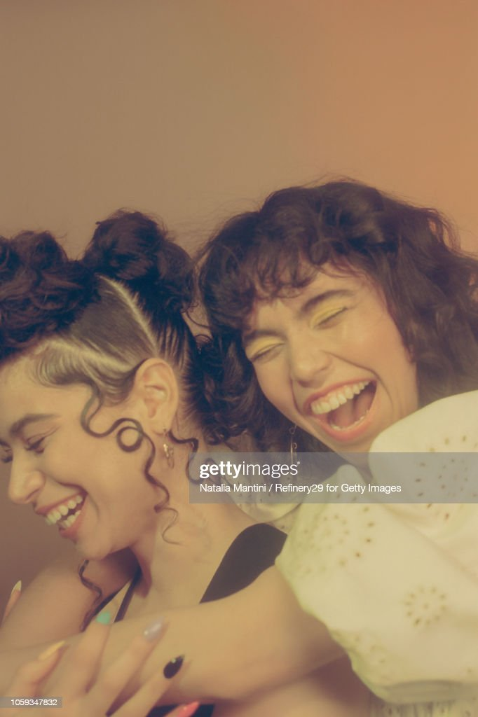 Portrait of Two Confident Woman Friends Laughing : Stock Photo