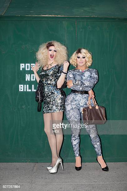 portrait of two drag queens - drag queen stock pictures, royalty-free photos & images