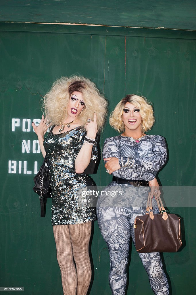 Portrait of two drag queens : Stock Photo