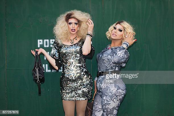portrait of two drag queens - transvestite stock photos and pictures