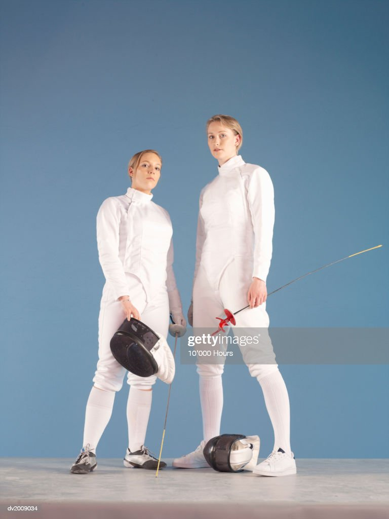 Portrait of Two Female Fencers : Stock Photo