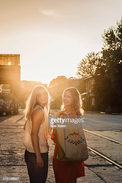 Portrait of two female friends, Berlin, Germany