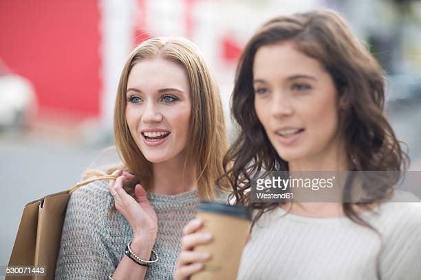 Portrait of two female friends on shopping tour
