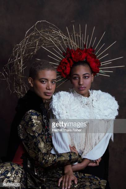 portrait of two females posing as saints as if in a classic painting - fine art painting stock pictures, royalty-free photos & images