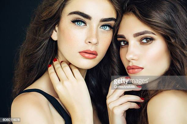 portrait of two fresh and lovely women - pretty girls stock photos and pictures